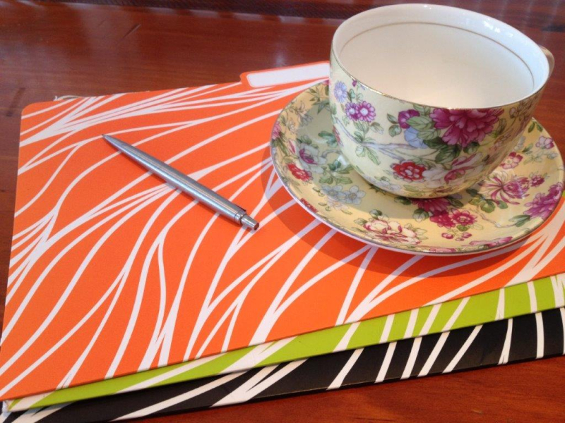 Folders and tea